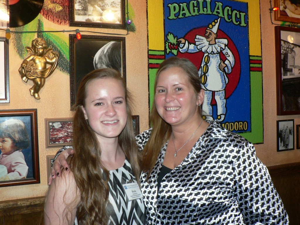Gaithersburg-Germantown Chamber's Intern Emily Santini & Director of Events & Marketing Laura Rowles at the GGCC Business Card Exchange Lunch at Buca di Beppo.