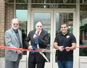 (l:r) Jerry Therrien, President of Therrien Waddell, Inc. & GGCC Board Chair-Elect; City of Gaithersburg Mayor Sidney Katz; and Arash Tafakor, Downtown Crown Wine & Beer owner at the Gaithersburg-Germantown Chamber conducted Ribbon Cutting Ceremony for Downtown Crown Wine & Beer on October 3, 2014.  (photo credit Laura Rowles, GGCC DEM)