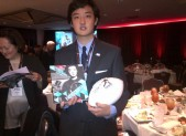 Patrick  Cha celebrates his being a Wendy'a High School Heisman National finalist in New York. PHOTO | Victor Cha