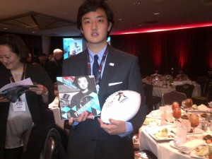 Patrick  Cha celebrates his being a Wendy's High School Heisman National finalist in New York. PHOTO | Victor Cha