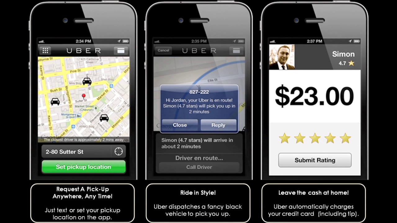 photo of three cell phones displaying process of obtaining an Uber rider