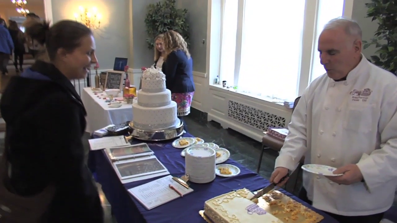 photo of cake sampling at the 16th annual wedding expo at Rockville's Glenview Mansion