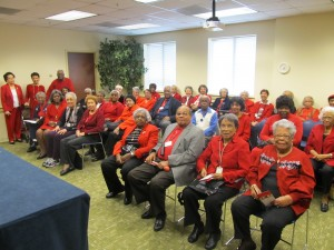 Resident members of the African-American History Club of Riderwood retirement community in Silver Spring wore red on February 6th to commemorate the American Heart Association's national campaign, Go Red for Women.  The event provided heart health tips, and attendees were encouraged to share the information with their friends and family to build awareness.