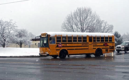 photo of school bus in snow for slider