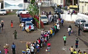 photo of lines of people in West Africa during 2014 Ebola outbreak