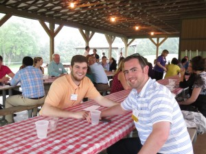 (l:r) Zach Hylton & Brian Black of DeLeon & Stang, CPAs & Advisors celebrating the GGCC's Young Professional's Group 3-Year Anniversary at a networking picnic at Smokey Glen Farm Barbequers, Inc. in Gaithersburg.  (photo credit: Laura Rowles, GGCC Director of Events & Marketing)