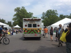 This ambulance responded when a festival goer fainted.