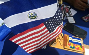 USA & El Salvador Flags at Salvadoran Festival in Wheaton 2015