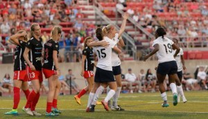 Lisle, IL, USA, August 16, 2015: Washington Spirit versus Chicago Red Stars in a National Women's Soccer League game at Benedictine University. Photo by Daniel Bartel