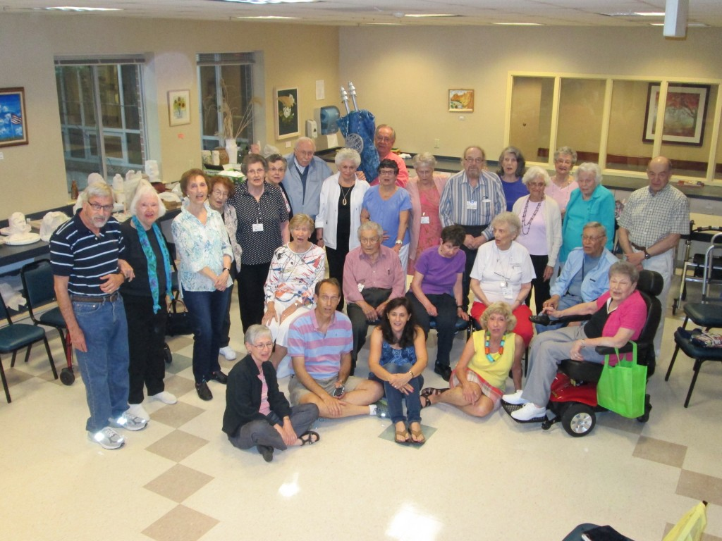 Members of the Riderwood Jewish Community are photographed with the Scroll they created this summer.