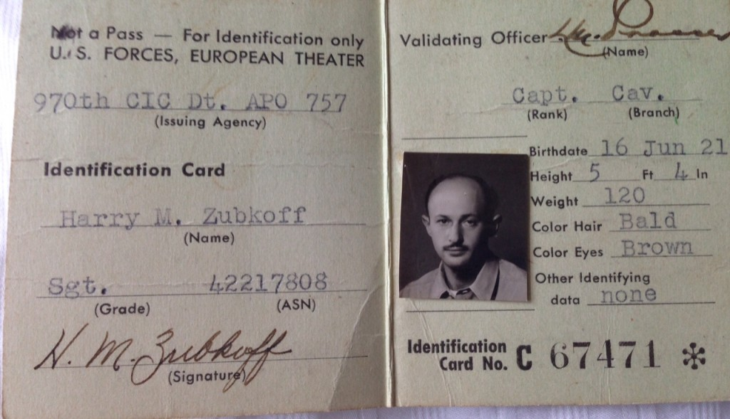 Harry's ID in the Army Counter Intelligence Corps