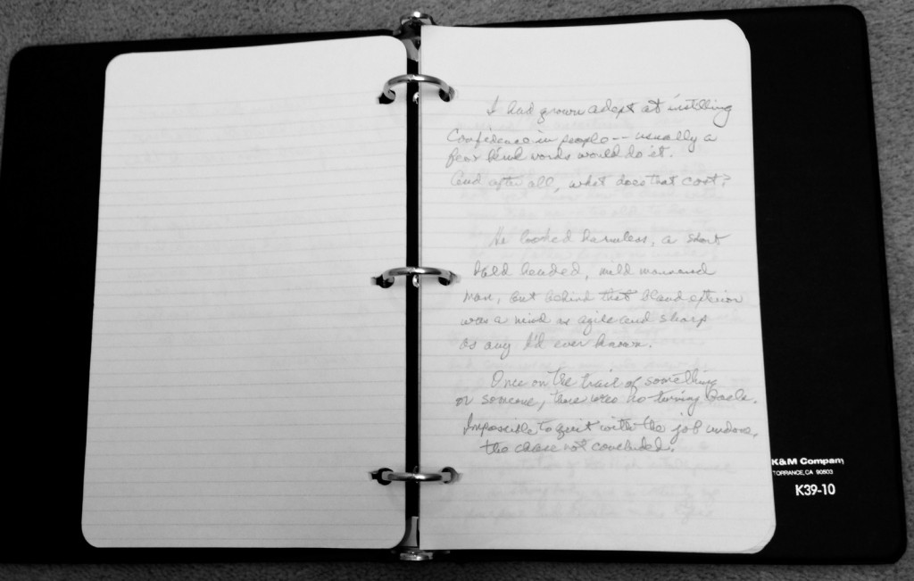 Three-ring notebook with handwritten entries