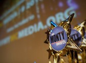 Monty Awards 2015 trophy with screen in background
