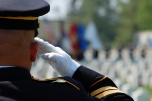Officer Salutes at Arlington National Cemetery