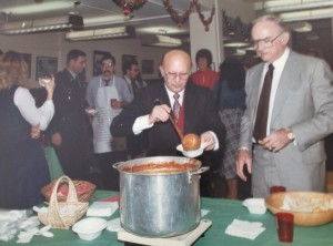 Harry dishes out chili for a guest at one of his annual office Christmas parties. A co-worker made the chili each year, and I've been told it was the highlight of the party. Many in the Pentagon regularly attended, as well as out-of-towners.