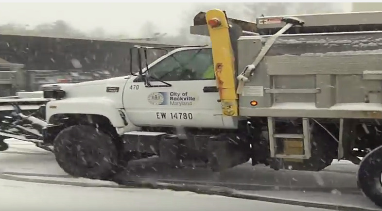 City of Rockville snow plow in snow