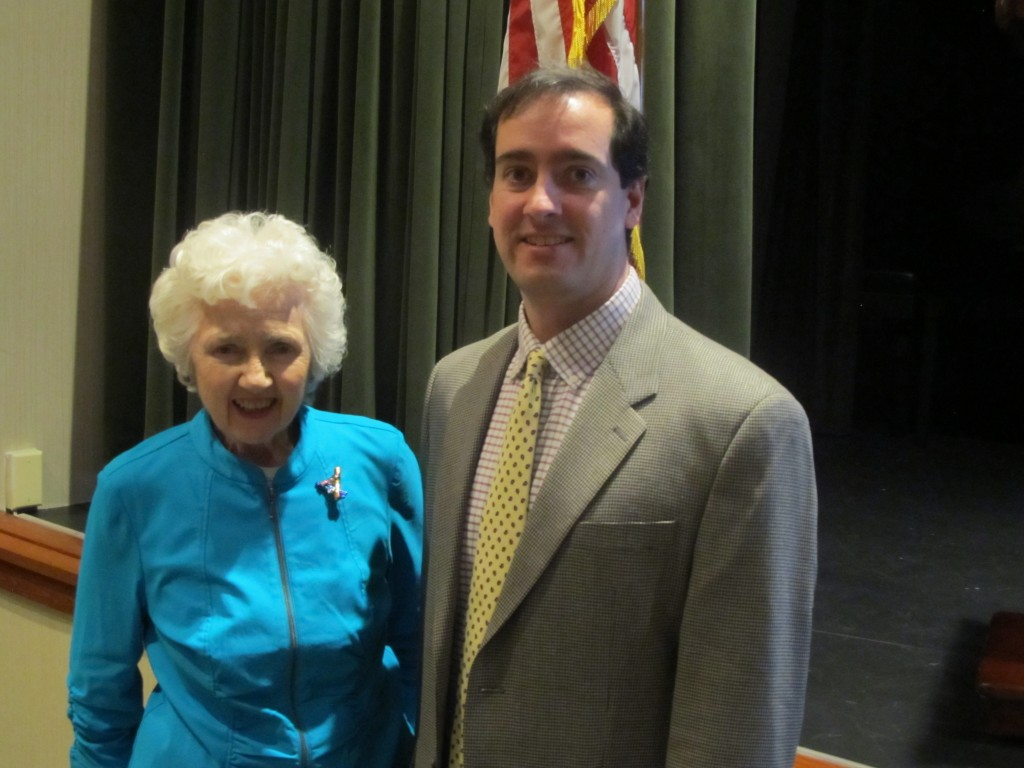 The resident-led Riderwood Democratic Club hosted University of Maryland, College Park Associate Professor Michael Hanmer as guest speaker for its January 13 meeting. Professor Hanmer, the Research Director for UMD's Center for American Politics & Citizenship, discussed results of a recent poll conducted by UMD and the Washington Post. He is pictured with Riderwood resident Millie Bluestein, the club's President.