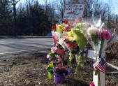 Close in photo Flowers at Intersection of River Road and Pyle Road Bethesda Fatal Accident Scene 4 pm 2_18_16 v3