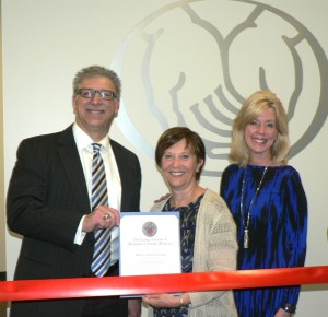 Paul Simonetti, Exclusive Agent, Paul Simonetti, Allstate Insurance: Marilyn Balcombe, President/CEO, Gaithersburg-Germantown Chamber; and Lisa Simonetti, LSP, Paul Simonetti, Allstate Insurance celebrate business at the Simonetti Insurance Associates Ribbon Cutting Ceremony on April 1, 2016.  (photo credit: Laura Rowles, GGCC Director of Events & Marketing)