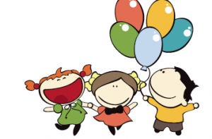 children with baloons