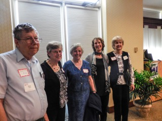 Current and former Presidents of Colesville Meals on Wheels are pictured during the organization's 40th anniversary celebration held at Riderwood retirement community.  From left to right are Alan Hedin  (2000- 2005 & Riderwood Resident), Annie McLane (1988- 1994, 2006-2013), Daniele Zartman (1995-1999), Pam Jones (2014- present) and Helen Beschner (2006-2007).