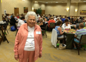 Riderwood resident Barbara Breit is pictured following her welcome remarks during the 2015 Mah Jongg Tourney at the Erickson Living retirement community.