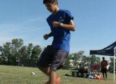 Juan Sebastian Del Solar kicking soccer ball