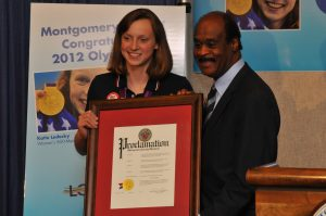 Ike Leggett and Olympian Katie Ledecky