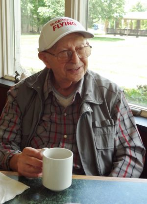 Harry Zubkoff, age 91, having lunch with friends in June 2012