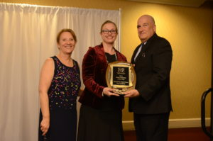 Marilyn Balcombe, Gaithersburg-Germantown President (left) and Bruce Kanner, Cartridge on Wheels Owner (right) present the Gaithersburg-Germantown Chamber's 10th Annual Small Business of the Year Award to Paula Ross, Executive Director (center) of Metropolitan Ballet Theatre and Academy at the Chamber's Annual Celebration Dinner on December 8.  (Photo Credit: John Keith Photography)
