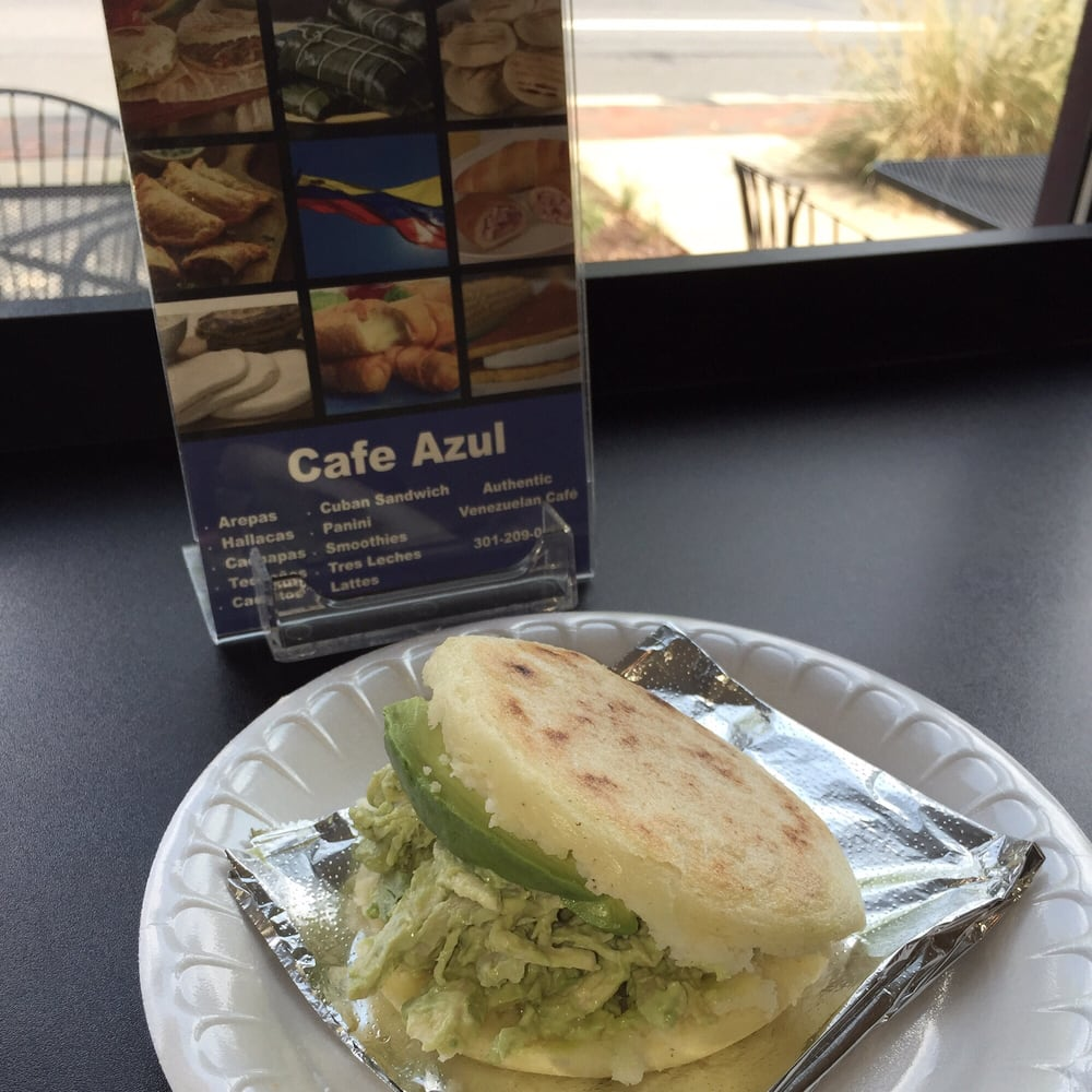 Chicken and avocado arepa at Cafe Azul | M.A.