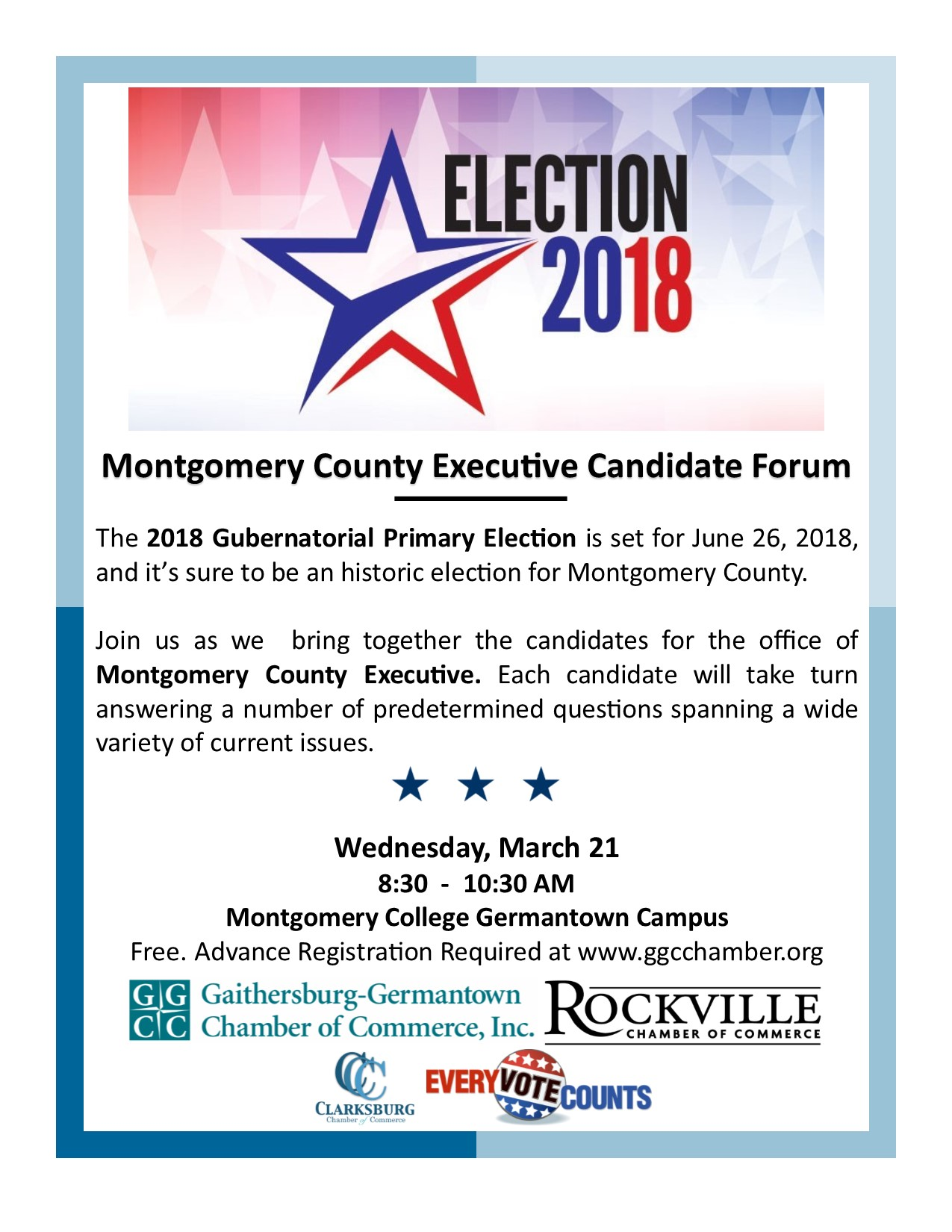 Chamber of Commerce Debate Set for Candidates for County Executive