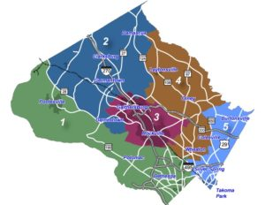 graphic of the Montgomery County Council Districts
