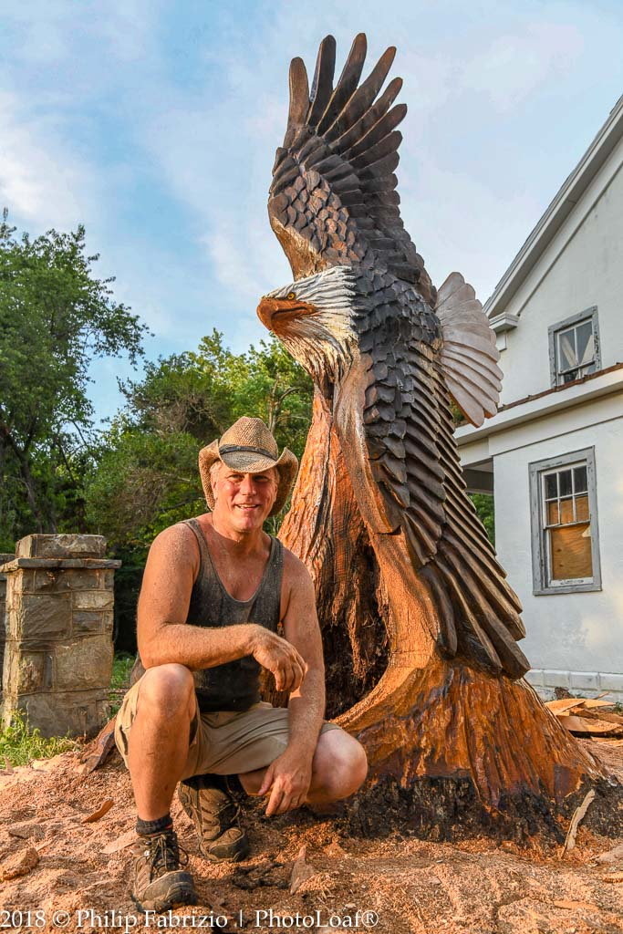 A chainsaw artist and travilah s eagle montgomery