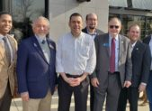 (l:r) Craig Rice, Montgomery County Council; Mike Sesma, City of Gaithersburg Council; Andrew Nicolaysen, general manager, Yard House Gaithersburg; Neil Harris, City of Gaithersburg Council; Sidney Katz, Montgomery County Council; Ryan Spiegel, City of Gaithersburg Council; and Jud Ashman, City of Gaithersburg Mayor celebrate the grand opening of Gaithersburg's newest restaurant, Yard House.   (photo credit: Laura Rowles, GGCC Director of Events & Marketing)