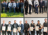 """Gaithersburg-Germantown Chamber of Commerce 24th Annual Public Safety Awards ceremony held on Friday, July 12. 2019.  (top left) City of Gaithersburg elected official with the Gaithersburg Police department (bottom left) Gaithersburg Police department Street Crimes Unit, a plainclothes unit that saturates """"hot spots"""" and investigates elevated criminal activity.  (top right) County officials and leaders – including Montgomery County Acting Chief of Police Marcus Jones, Montgomery County Fire & Rescue Service Chief Scott Goldstein, Montgomery County Police, 5th District Commander Mark Plazinski, Gaithersburg Police Chief Mark Sroka, Maryland State Police Assistant Commander Michael Taluskie, City of Gaithersburg Mayor Jud Ashman, and Montgomery County Councilman Sidney Katz - honored forty-nine first responders at the Gaithersburg-Germantown Chamber of Commerce public safety awards.  (bottom right) Montgomery County Sherriff's Office Sergeant Steven Austin and Deputy Sheriff's Connor Clifford, Joshua Hurtt, Vithaya Iem, Lindsey Swinford, and K-9 Harley were awarded the distinguished service citation for their efforts in locating a mentally ill subject that was missing and experiencing a psychotic episode in the Upcounty area of Montgomery County.   (photos compliments of PhotoLoaf® - Live. Love. Play. Loaf.)"""