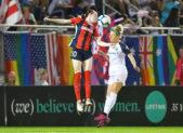 Spirit midfielder Rose Lavelle wins a header. 20190928 NC Courage at Spirit Photo Credit:  David Wolfe
