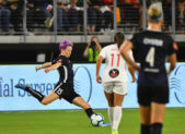Megan Rapinoe delivers a signature shot at the goal from the left side of the field.  Fortunately for the Spirit, it was blocked. 20190914 Reign at Spirit Photo Credit:  David Wolfe