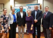 (l:r). Brittany Hilton, Franchise Marketing Specialist, Hughes Network Systems, LLC; Cheryl Kagan, State Senator - District 17; Brian Feldman, State Senator- District 15; Marilyn Balcombe, Gaithersburg-Germantown Chamber of Commerce President/CEO; Marc Elrich, Montgomery County Executive; and Randy Scritchfield, President, Randy Scritchfield and Associates, discuss politics & trending topics at the Gaithersburg-Germantown Chamber's Legislative Breakfast. The 14th Annual Upcounty Business Breakfast Briefing -held at Hughes Network Systems in Germantown on Wednesday, October 16, 2019- is a great opportunity for Chamber Members to network over breakfast with their legislators.  (Photo Credit: Laura Rowles, GGCC Director of Events & Marketing)