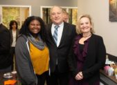 (l:r) Ebonie Gadson, Future Link, Inc. student; Marc Elrich, Montgomery County Executive; and Mindi Jacobson, executive director, Future Link, Inc celebrate education & grand opening of the new Future Link suite at the Gaithersburg-Germantown Chamber Ribbon Cutting Ceremony. Future Link empowers participants to achieve their education and career goals with the help of mentors, employers and donors.  (photo credit: Meyer Gladstone Photography)