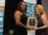 (l:r) Aj Nwoga with M&T Bank presents Hope MacDonald, owner of Bella Ballet, LLC, with the Gaithersburg-Germantown Chamber's 13th Annual Small Business of the Year Award at the Platinum Gala on December 5, 2019 (Photo Credit: John Keith Photography)