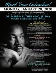 graphic of montgomery county 2020 martin luther king jr day tribute