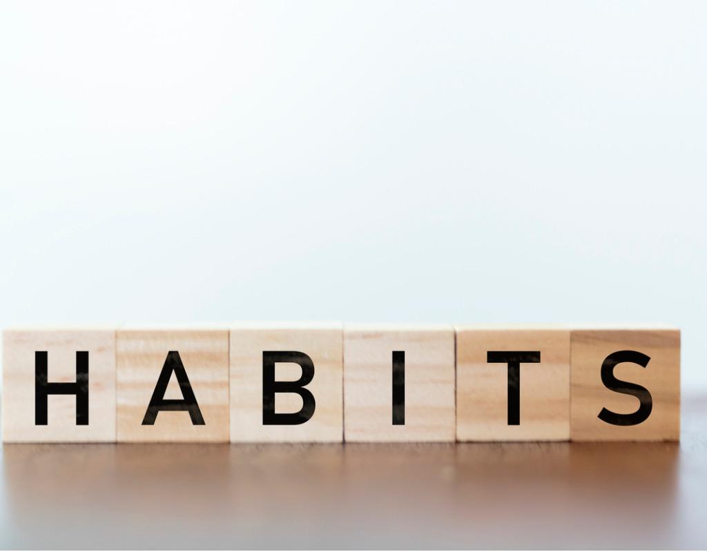 photo of work habits written in wooden blocks