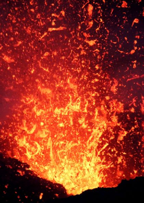 photo of Mt. Yasur explodes every few minutes -- a very active and spectacular volcano on the eastern side of Tanna. Some Prince Philip worshippers believe that Philip is an incarnation of the volcano's spirit