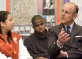 feature Prince Philip with students
